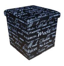 Design tárolós ülőke, 38x38, Fashion, fekete - Bútorok Webshop