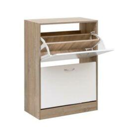 Jesolo cipőszekrény, fehér-fehérített tölgy - Bútorok Webshop
