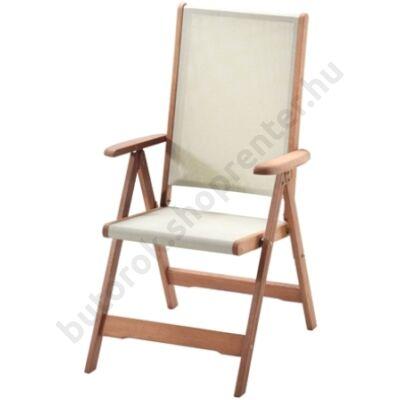 Karfás kerti szék fából, 5 pozíciós (textil ülőrésszel) - Bútorok Webshop