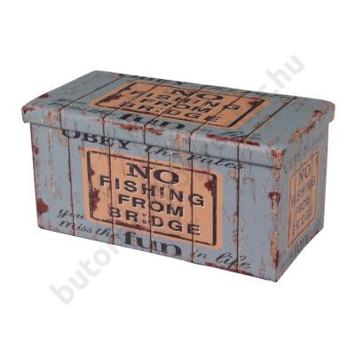 Design tárolós ülőke, 76,5x38, Old Coffer - Bútorok Webshop
