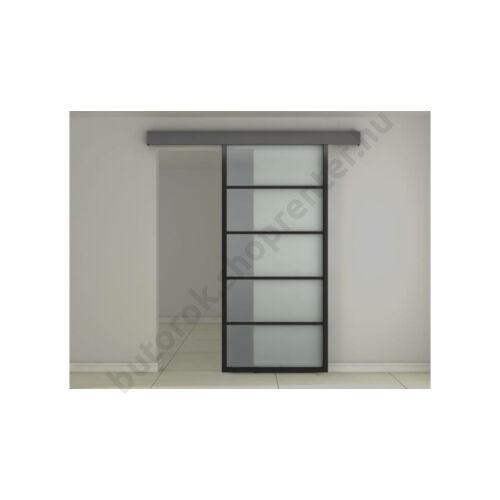 Üveg tolóajtó savmart fekete alu kerettel ASB-004 - Bútorok Webshop
