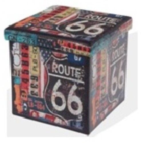 Design tárolós ülőke, 38x38, Route 66 - Bútorok Webshop