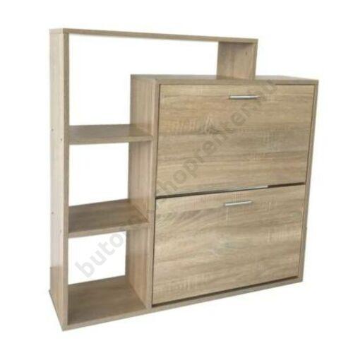 Polcos cipőszekrény, fehérített tölgy - Bútorok Webshop