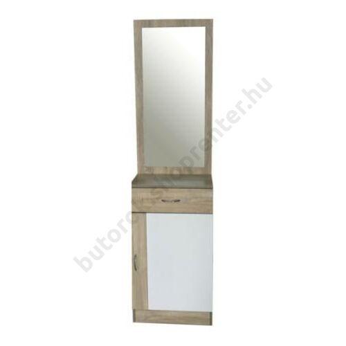 Dézi tükrös szekrény, fehér-fehérített tölgy - Bútorok Webshop